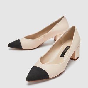 Zara Pointed Mid Heel Pumps